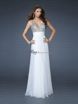 Cheap Beading V-neck Sheath Floor-Length Chiffon White Open Back Prom Dress Sale at Amydress.co.uk | amydress | Scoop.it