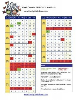 School Holiday Calendar Spain 2014 2015 Andalucía | | Moving to Spain with Children | Scoop.it