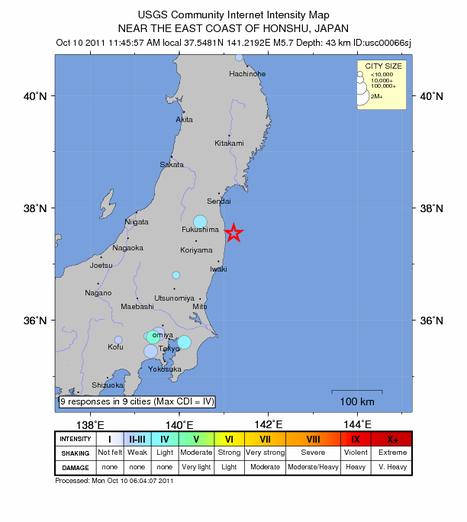 Japon: un séisme de 5,7 secoue la préfecture de Fukushima | Notre planète | Scoop.it