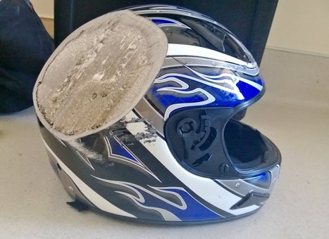 A friend of a friend got into a motorcycle accident at 70 mph and hit a bus. This is his helmet. - Imgur | Motorcycle Accident Attorney | Scoop.it