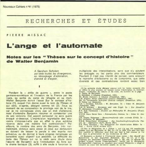 Pierre Missac – L'ange et l'automate. Notes sur les « Thèses sur le concept d'histoire » de Walter Benjamin (1975) « Espace contre ciment | We are the Birds of the Coming Storm | Scoop.it