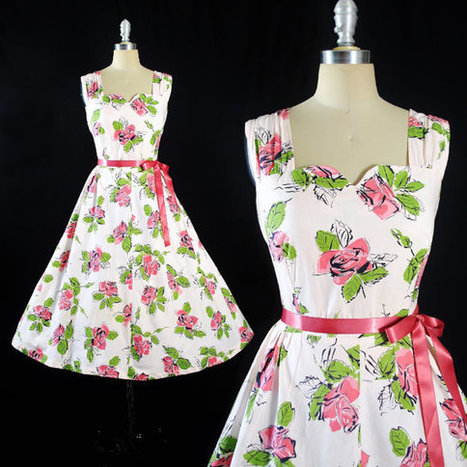 Vintage 50s ROSE Print DRESS | whats been spotted on etsy today? | Scoop.it