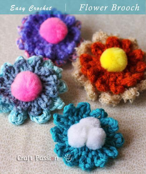 Crochet Pattern | Simple Flower Brooch | Free Pattern & Tutorial at ... | Fiber Arts | Scoop.it
