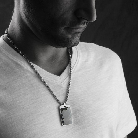 Most Unique Tungsten Tag Necklace. 4mm wide Surgical Steel Chain. Black Faceted High-Tech Ceramic.   Jewelry Trends   Scoop.it