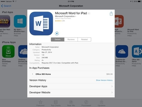 Microsoft is selling Office 365 within iPad apps, and Apple is getting its 30 percent cut | Digital Lifestyle Technologies | Scoop.it