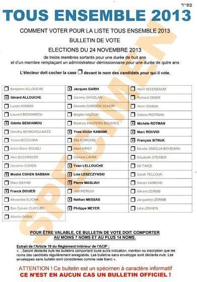 J-2 - Bulletin de Vote Tous Ensemble - Elections Consistoire 2013 - | Tous Ensemble 2013 | Scoop.it