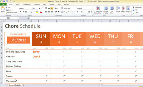Free Weekly Chore Schedule Template For Excel 2013 | Excell | Scoop.it