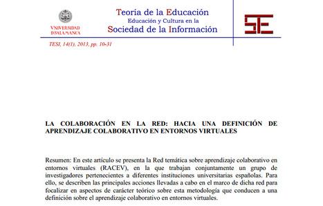 Repositorio Documental de la Universidad de Salamanca: La colaboración en la red: hacia una definición de aprendizaje colaborativo en entornos virtuales | Learning Analytics | Scoop.it