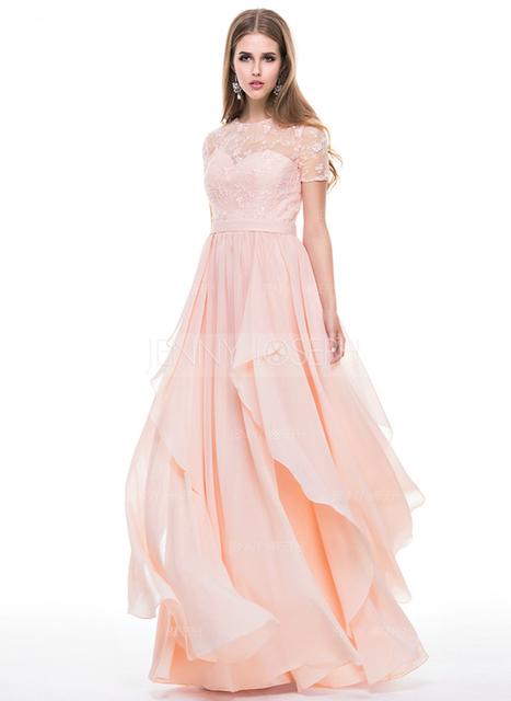 [€ 140.01] A-Line/Principessa Tondo A terra Chiffona Pizzo Abito da sera con Perline Pieghe/Increspature a cascata (017056509)   wedding dress   Scoop.it