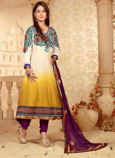 Off White and Yellow Churidar Kameez Set [Man15194] - Rs.3232 : Salwar Kameez,Designer Salwar Kameez, Designer Sarees, Designer Sarees, Wedding Lehengas, Indian Sarees Online store   Salwar Kameez   Scoop.it