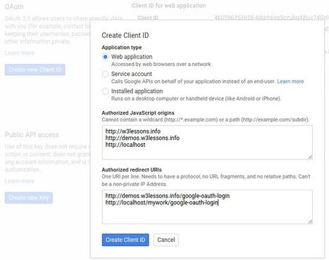 Google OAuth 2.0 Ajax Login using jQuery, PHP & MYSQL | W3lessons | Scoop.it