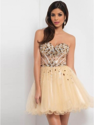 Cheap A-line Sweetheart Tulle Gold Cocktail Dresses/Short Prom Dress With Beading #VenusD032 | Cheap Wedding Dresses UK, Bridesmaid Dresses, Evening Dresses & Prom Dresses In UK | Scoop.it