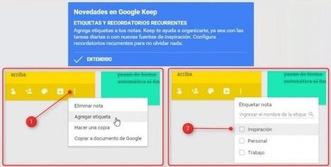 Etiquetas y recordatorios recurrentes: Lo nuevo de Google Keep, la aplicación de notas de Google | UTILS TOOLS COMPUTING | Scoop.it