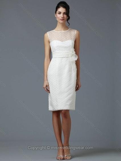 Sheath/Column Scoop Organza Knee-length Sashes / Ribbons White Wedding Dresses   2014 wedding dress online   Scoop.it