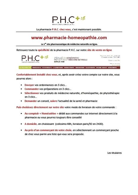 La pharmacie P.H.C. chez vous, c'est maintenant possible. Le 1er site pharmaceutique de médecine naturelle en ligne | La Pharmacie Homéopathique Centrale | Scoop.it