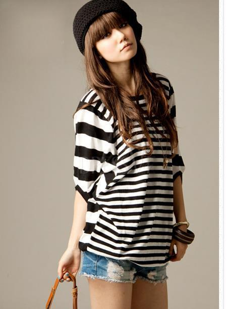Beautiful Japanese Style Round Neckline Striped T-shirts | Dressve fashion | Scoop.it