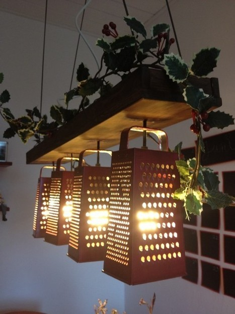 Suspended lamp made out of recycled graters | Recyclart | Man Stuff | Scoop.it