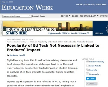 Popularity of Ed Tech Not Necessarily Linked to Products' Impact | EdTech Footenotes | Scoop.it
