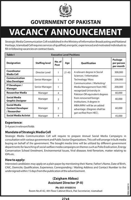 Post Vacant in Government of Pakistan 27th February 2015 | Bloomington | Scoop.it