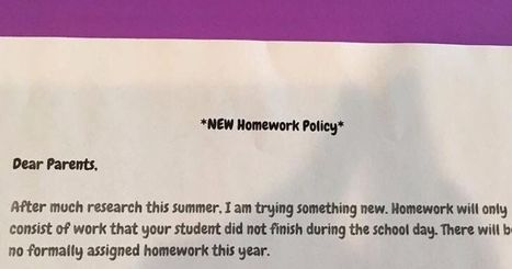 Teacher absolutely nails it with new homework policy | Professional Learning for Busy Educators | Scoop.it