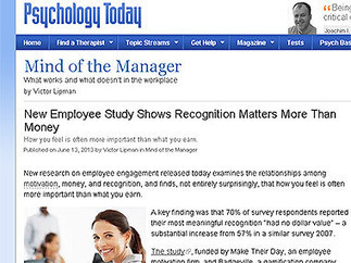 New employee study shows recognition matters more than money - Society - Panorama | Armenian news | Global Employee Engagement | Scoop.it