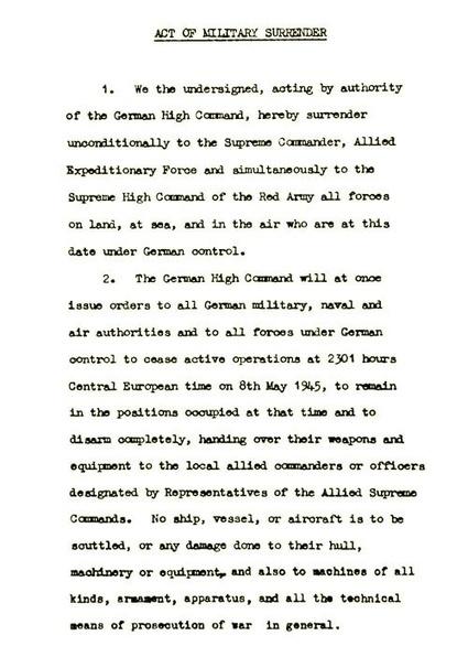 Acte de capitulation allemand de Berlin (8 mai 1945) | documents | temoignages-documents | Histoire de France | Scoop.it