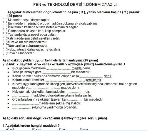 Sınıf fen ve teknoloji dersi 1 dönem 2 yazılı soruları 4