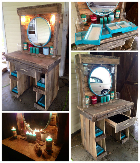 Makeup vanity made from reclaimed wooden pallet for Makeup vanity plans