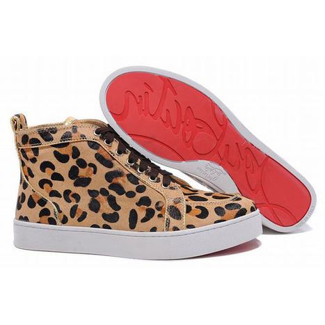 leopard print pony hair louboutin louis high top women sneakers | popular collection | Scoop.it