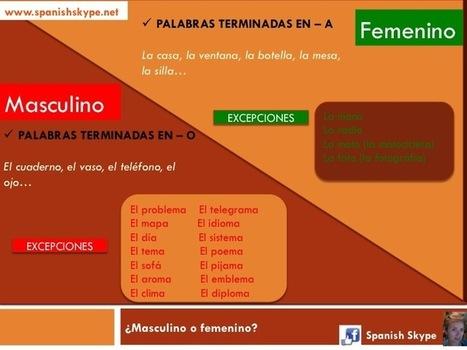 Masculine or feminine in Spanish: some exceptions - Spanish Skype Lessons   Aprender español online via skype   Scoop.it