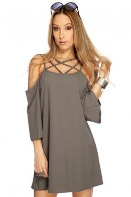 Charcoal Strappy Bare Shoulder Oversize Dress   The Season's Hottest Styles from Pink Basis   Scoop.it
