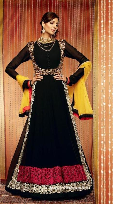 Black floor length embroidered fancy dress with Gold embroidery work, Indian Fashion | Beauty, Fashion & Photography | Scoop.it