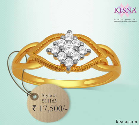 Diamond Ring S11163 from Kisna Diamond Jewellery<br/>View Online: http://goo.gl/auluAa   Gold Diamond Jewellery Designs   Scoop.it