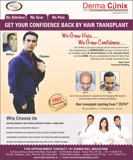 Hair Transplant Starting From ₹35/FU* - DERMACLINIX | DermaClinix - The Complete Skin & Hair Solution Center | Scoop.it