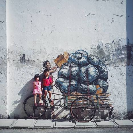 #Site-Specific #Street #Interventions by Ernest Zacharevic #art #streetart #graffiti | Luby Art | Scoop.it