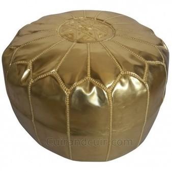 Pouf marocain artisanal en simili cuir doré | p... | Artisanat marocain du cuir | Scoop.it