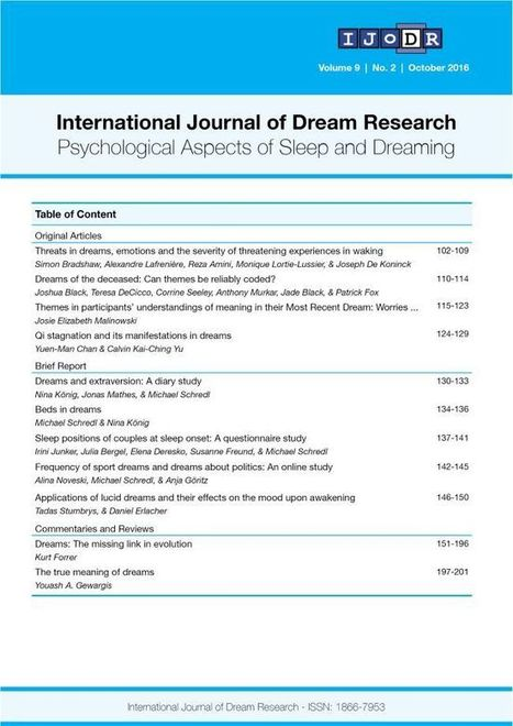 International Journal of Dream Research | Notes From a Dreamer | Scoop.it