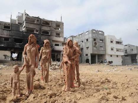 Bloodied and crumbling sculptures installed in destroyed Gaza neighbourhood   The Independent   caravan - rencontre (au delà) des cultures -  les traversées   Scoop.it