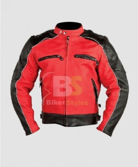Men Naked Cowhide Cardinal Black & Red Leather Jacket make great combination. | Biker stylez leather jackets | Scoop.it