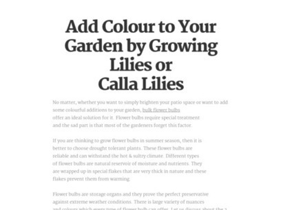 Add Colour to Your Garden by Growing Lilies or Calla Lilies | Flower Bulbs | Scoop.it
