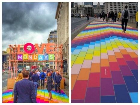 Un arc-en-ciel sur le trottoir du London Bridge pour égayer la journée des passants | streetmarketing | Scoop.it