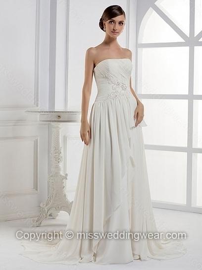 A-line Strapless Chiffon Court Train Ruffles Wedding Dresses   2014 wedding dress online   Scoop.it
