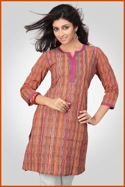 Deep Brown and Orange Cotton Readymade Kurta. Online Shopping: THK17 | Personal | Scoop.it