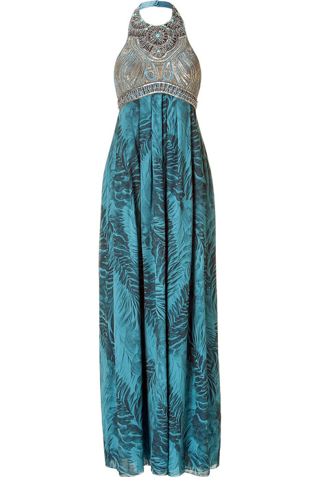 Teal Embellished Halter Gown with Feather Print , Apparel and Accessories Products, Women's Clothing Manufacturers, Teal Embellished Halter Gown with Feather Print Suppliers and Exporters Directory   Adventure Tours   Scoop.it