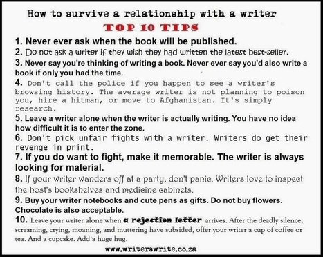 Top 10 Tips for Surviving Relationship with a Writer | Scriveners' Trappings | Scoop.it