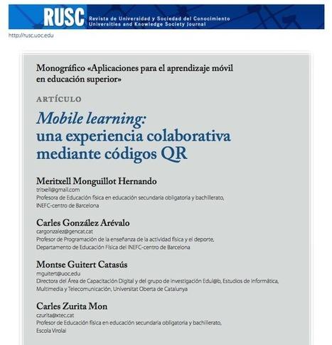APRENENT: Códigos QR, aprendizaje móvil y trabajo colaborativo en educación física. By Monguillot, González, Guitert y Zurita.   Frikimefs   Scoop.it