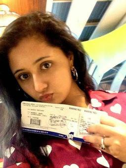 Rashmi Desai Sandhu Selfie Posing with her air tickets   Justhottest   Scoop.it