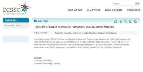 Toolkit for Evaluating Alignment of Instructional and Assessment Materials | K-12 Research, Resources and Professional Learning Materials for English Language Arts | Scoop.it