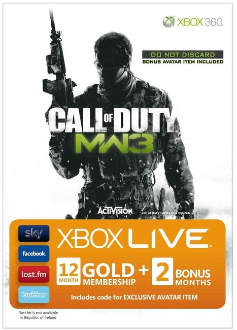 Microsoft Xbox 360 Live Gold 12 + 2 Month Membership - Call of Duty Modern Warfare 3 Branded including Avatar | Microsoft Xbox 360 LIVE | Scoop.it