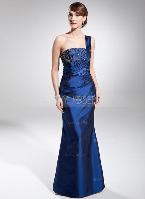 [€ 111.13] A sirena/Stile sirena Monospalla Tè-lunghezza Taffettà Abito da sera con Increspature Perline (017014681)   wedding dress   Scoop.it